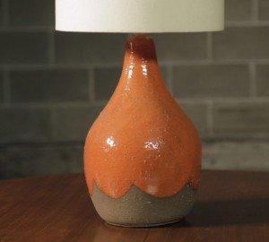 Late Mid Century Orange drip glaze lamp